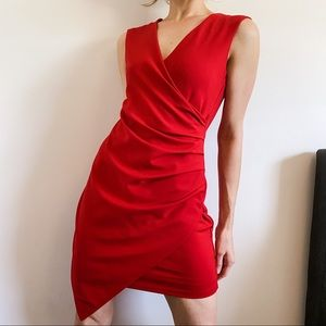 Adelyn Rae Red Asymmetrical Drape Wrap Dress | M
